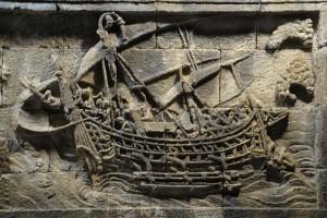 Relief kapal layar bercadik di Candi Borobudur. (Sumber: Istimewa)