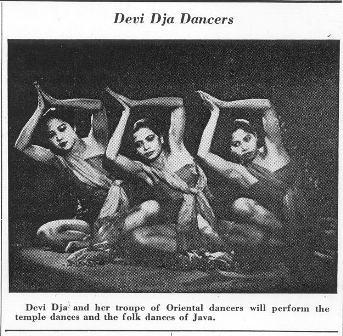 Dewi Dja di salah satu surat kabar Amerika.